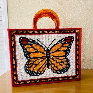 Vintage needlepoint boho tote butterfly bag